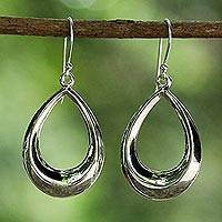 Sterling silver dangle earrings, 'Dewy Sheen' - Sterling Silver Teardrop Dangle Earrings from Thailand