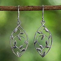 Sterling silver dangle earrings, 'Glowing Spring Leaves' - Sterling Silver Openwork Leaf Dangle Earrings from Thailand