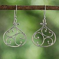 Sterling silver dangle earrings Swirling Tears (Thailand)