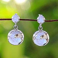 Sterling silver dangle earrings, 'Simply Precious' - Sterling Silver Spherical Dangle Earrings from Thailand