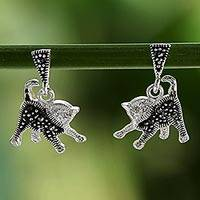 Cubic zirconia and marcasite dangle earrings, 'Playful Cats' - Cubic Zirconia and Marcasite Thai Cat Dangle Earrings