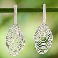 Sterling silver drop earrings, 'Modern Circles' - Artisan Crafted Sterling Silver Modern Thai Drop Earrings