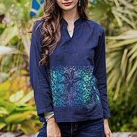 Cotton batik blouse, 'Deep Sea' - Blue Cotton Blouse with Hand Painted Batik Design