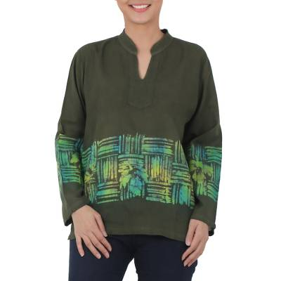 Cotton batik blouse, 'Olive Branch' - Long Sleeved Green Blouse with Hand Painted Batik Pattern