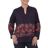 Cotton batik tunic, 'Island Evenings' - Handmade Thai Long Sleeved Cotton Blouse with Batik Pattern