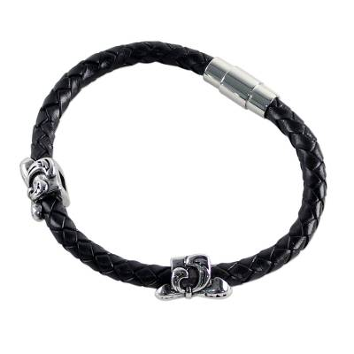 Black Leather Wristband Bracelet with Fleur de Lis