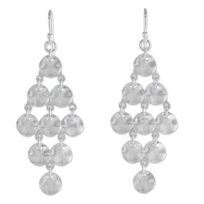 Sterling Silver Circle Diamond Shaped Earrings from Thailand