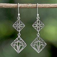 Sterling silver filigree dangle earrings, 'Wind in the Trees' - Sterling Silver Square Shaped Filigree Dangle Earrings
