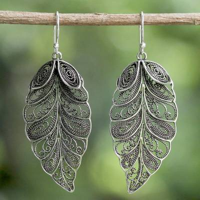 Sterling silver filigree dangle earrings, 'Feathered Leaves' - Sterling Silver Filigree Leaf Dangle Earrings from Thailand