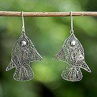 Sterling silver dangle earrings, 'Fish Filigree' - Sterling Silver Fish Filigree Dangle Earrings From Thailand
