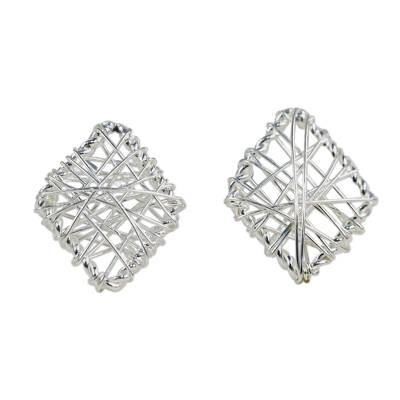 Wrapped Sterling Silver Stud Earrings Crafted in Thailand