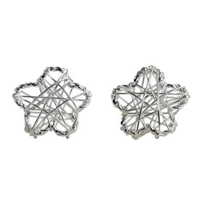 Sterling Silver Flower Stud Earrings Crafted in Thailand