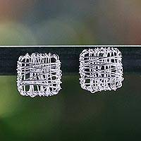 Sterling silver stud earrings, 'Crisscross Square' - Sterling Silver Wrap Square Stud Earrings Made in Thailand