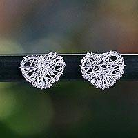 Sterling silver stud earrings, 'Heart Wrap' - Sterling Silver Wrapped Heart Earrings Crafted in Thailand