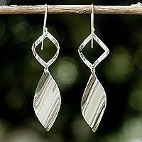 Sterling silver dangle earrings, 'Shimmering Helicopters' - Sleek Handcrafted Sterling Silver Contemporary Thai Earrings