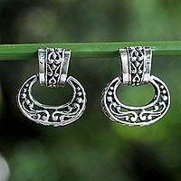 Sterling silver dangle earrings, 'Ornate Chiang Mai' - Elegant Sterling Silver Oval Dangle Earrings from Thailand