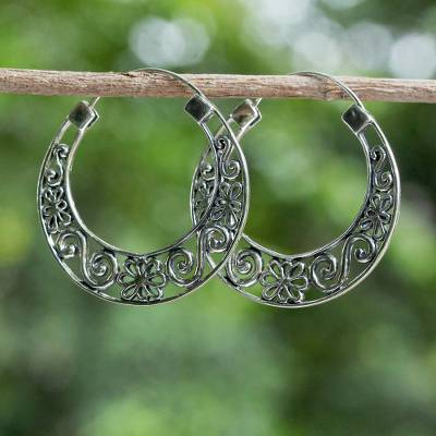Sterling silver hoop earrings, 'Ornate Spring' - 925 Sterling Silver Floral Hoop Earrings from Thailand