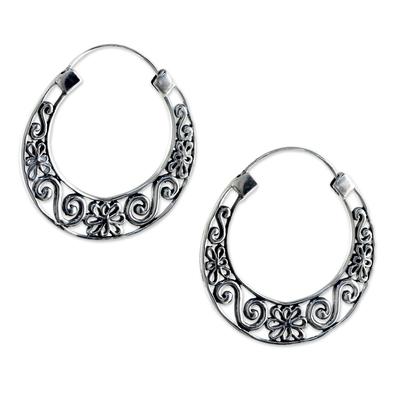925 Sterling Silver Floral Hoop Earrings from Thailand