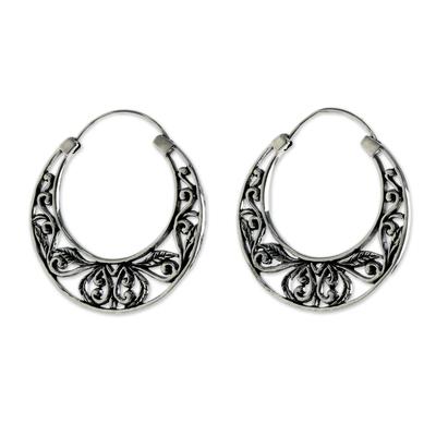 Sterling Silver Leaf Motif Hoop Earrings from Thailand