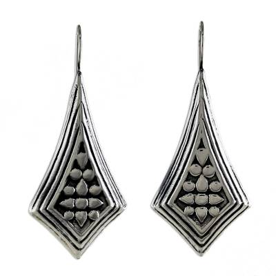 Sterling Silver Diamond Shaped Drop Earrings from Thailand
