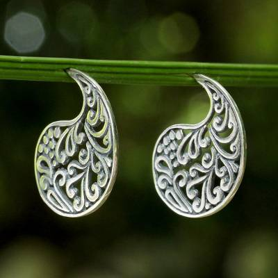 Sterling silver drop earrings, 'Ornate Paisleys' - Sterling Silver Elegant Paisley Drop Earrings from Thailand