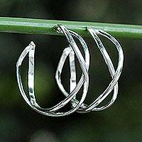 Sterling silver half-hoop earrings, 'Dancing Shine' - Sterling Silver Twisting Half-Hoop Earrings from Thailand
