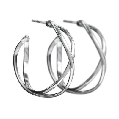 Sterling Silver Twisting Half-Hoop Earrings from Thailand