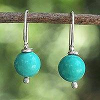 Silver dangle earrings, 'Pretty Orbs' - Karen Silver and Dyed Calcite Dangle Earrings from Thailand