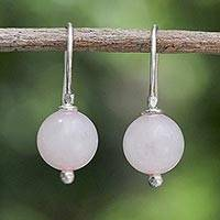 Rose quartz dangle earrings, 'Pretty Orbs' - Karen Silver and Rose Quartz Dangle Earrings from Thailand