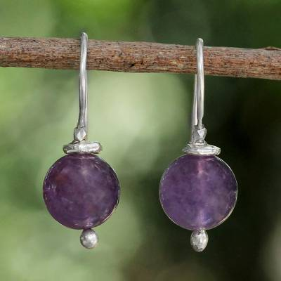 Amethyst dangle earrings, 'Pretty Orbs' - Karen Silver and Amethyst Dangle Earrings from Thailand