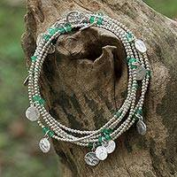 Onyx wrap bracelet, 'Rain Charms in Green' - 925 Sterling Silver Plated Green Onyx Bracelet from Thailand