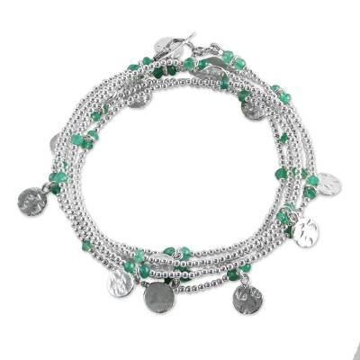 925 Sterling Silver Plated Green Onyx Bracelet from Thailand