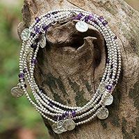 Amethyst Wrap Bracelet Rain Charms (thailand)