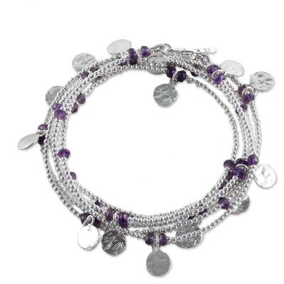 Sterling Silver Plated Amethyst Wrap Bracelet from Thailand
