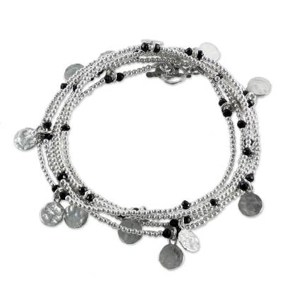 925 Sterling Silver Plated Black Onyx Bracelet from Thailand