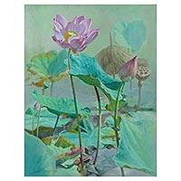 'Lotus and the Truth' - Signed Realist Painting of Lotus Flowers from Thailand