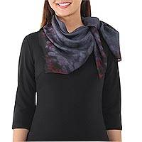 Tie-dyed silk scarf, 'Chic Blend' - Tie-Dyed 100% Silk Scarf in Slate and Black from Thailand