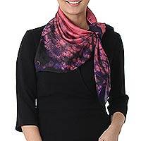 Tie-dyed silk scarf, 'Fantastic Blend' - Tie-Dyed Silk Scarf in Rose and Blue-Violet from Thailand