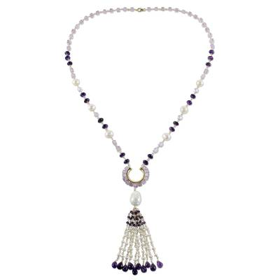 Gold plated cultured pearl and amethyst pendant necklace, 'Fanciful Orchid' - Gold Plated Cultured Pearl and Amethyst Pendant Necklace