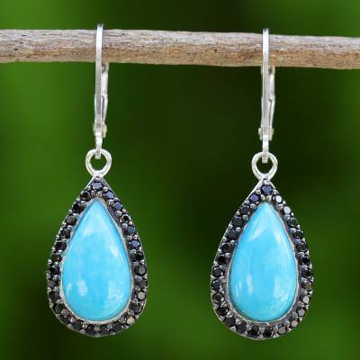 Onyx dangle earrings, 'Dangling Petals' - Thai Reconstituted Turquoise and Onyx Dangle Earrings