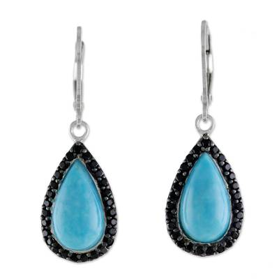 Thai Reconstituted Turquoise and Onyx Dangle Earrings