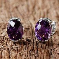 Featured review for Amethyst stud earrings, Precious Plum