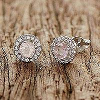Rhodium plated rose quartz stud earrings, 'Thai Sparkles' - Rhodium Plated Rose Quartz and Cubic Zirconia Stud Earrings