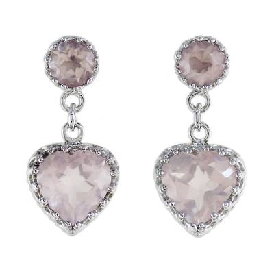 Rhodium Plated Rose Quartz Heart Earrings from Thailand