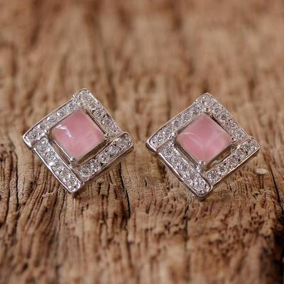 Rhodium plated rose quartz button earrings, Pink Squares
