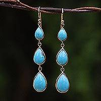 Gold plated dangle earrings, 'Nectar Drops' - Gold Plated Sterling Silver Dangle Earrings from Thailand