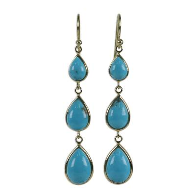 Gold Plated Sterling Silver Dangle Earrings from Thailand