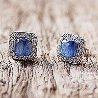 Rhodium plated kyanite stud earrings,
