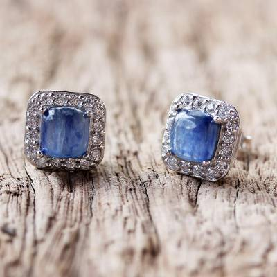 Rhodium plated kyanite stud earrings, 'Blue Squares' - Rhodium Plated Kyanite and Cubic Zirconia Stud Earrings