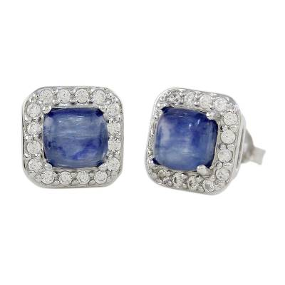 Rhodium Plated Kyanite and Cubic Zirconia Stud Earrings